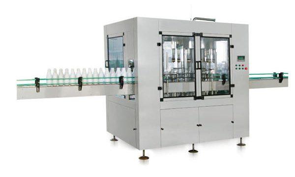 Osm hlavový automat s lineárním plněním tekutého mýdla